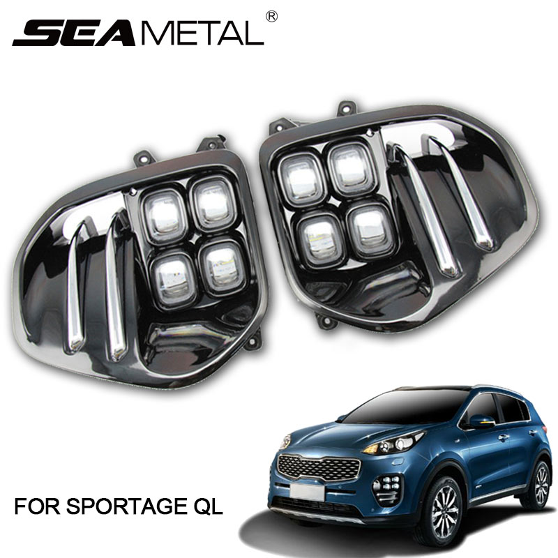 Daytime Running Lights For KIA Sportage 4 QL Kx5 2019 2018 2017 2016 DRL LED Car Driving Light White Day Fog Lamp drl Auto Lamps 2pcs car accessories led lights drl daytime running light auto lamp for bmw x6 e71 2008 2012 cars day running light