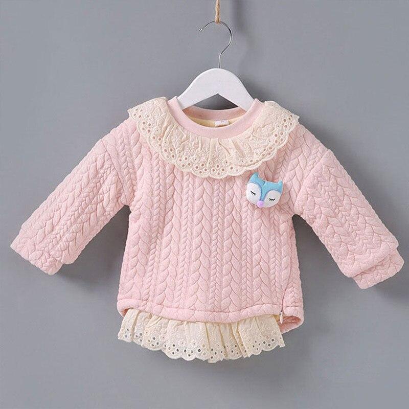 Baby Mädchen Tops Langarm Winter Warme Samt Mädchen Sweatshirt Baby Kleidung Säuglings Kleidung Mädchen Tops Mit Cartoon Tier 0-2y