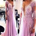 Ilusión Desnuda Con Cuentas de Encaje Apliques de Gasa lila Prom Dreess Con Manga Larga Vestidos De Fiesta Vestido Longo Párr Casamento