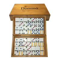 Bamboo Box Domino Game Pai Gow 28pcs Dominos Board Game Puzzles Dominoes Kutu Oyunu