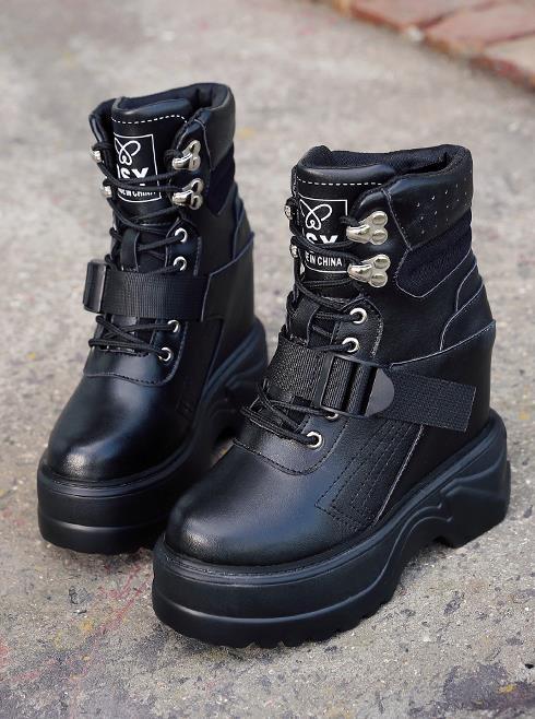 Suela Alto Botines Cuña Mujeres Zapatos negro De Martin Beige Nuevas Gruesa 13 Cm Mujer Tacón Negro Cortas Botas Invierno Otoño Metal PnSxZwOqp