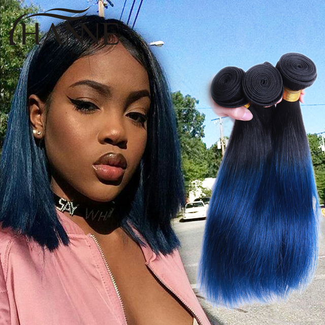 Brazilian Straight Hair Ombre Blue Human Hair 3pcs Elegant Women Bob