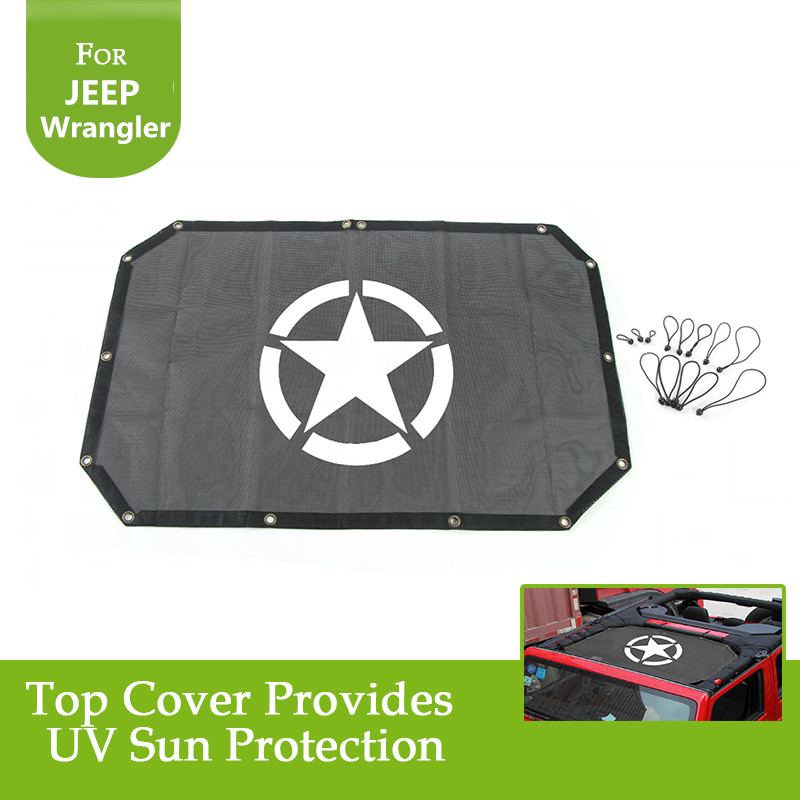 For Jeep Wrangler Durable Polyester Mesh Shade Top Cover Provides UV Sun Protection for Your 2