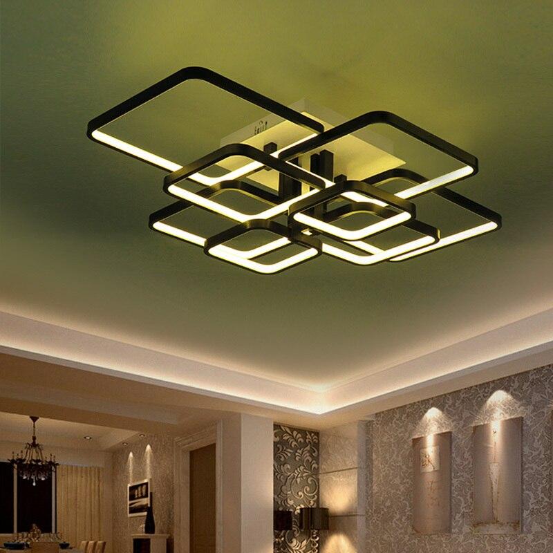 Modern Chandelier LED Lights Fixtures For Living Room Black Home Bedroom Lamps With Remote Control Restoration