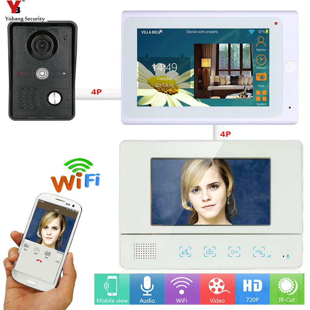 купить Yobang Security 7 inch 2 Monitors Wired /Wireless Wifi Video Door Phone Doorbell Intercom System Wired Camera Night Vision недорого