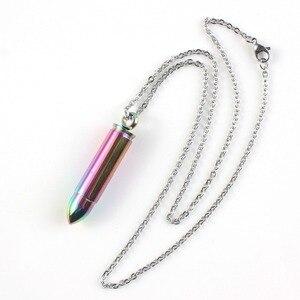 KFT популярная цветная Радужная подвеска в форме пули из нержавеющей стали подвеска в виде бутылочки парфюма диффузор ожерелье для женщин и ...