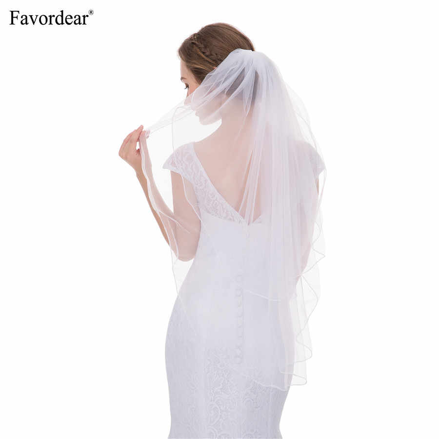 Favordear 100% Light Weight Soft Tulle Elbow Length White Ivory Pencil Edge 2 Layers Veils for Brides Hot Sale 2018 New