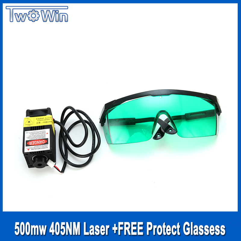 500MW 405NM 12V Focusing Laser Module Engraving with Control Laser Tube Diode+ Protective Glasses for DIY Laser Machine 500mw 405nm focusing blue purple laser module engraving with ttl control laser tube diode goggles power supple driver board