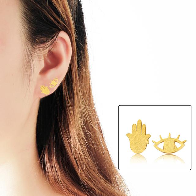 Jewish women hamsa hand and evil eye earrings/studs