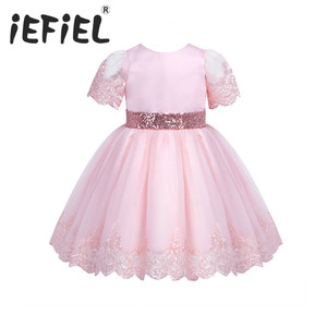 Image 1 - Iefiel 유아 아기 소녀 수 놓은 짧은 소매 sequined bowknot 꽃 소녀 첫 성찬식 공주 결혼식 미인 대회 드레스