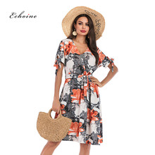 Echoine Bohemian Dress Elegant Women Sexy V-Neck Floral Print Bow Knot Fit And Flare Belted Knee Length A Line Summer Streetwear stripe floral print fit and flare dress