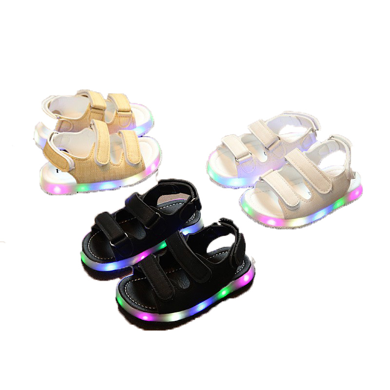 LED Kids Shoes Summer Baby Girl Sandals PU Children Shoes Soft Breathable Baby Boy Sandals Fashion 2018 Light Boy Shoes