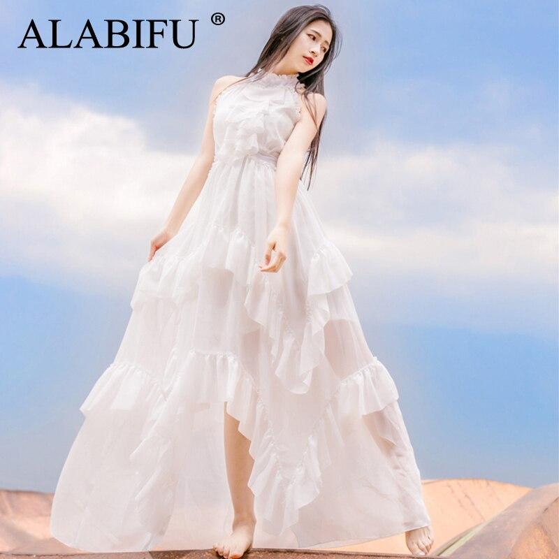 ALABIFU летнее женское платье 2019 повседневное сексуальное платье с бретельками без рукавов белое платье нерегулярный взъерошенный слой длинн...