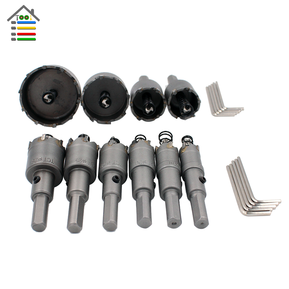 Free shipping New 15-100mm Carbide Tip Stainless Steel Drill Bit TCT Hole Saw Set for Stainless Steel Metal Alloy Drilling