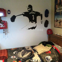 Baseball Player Wall Art Decal Sticker Choose Name Number Personalized Home Decor Wall Stickers For Kids