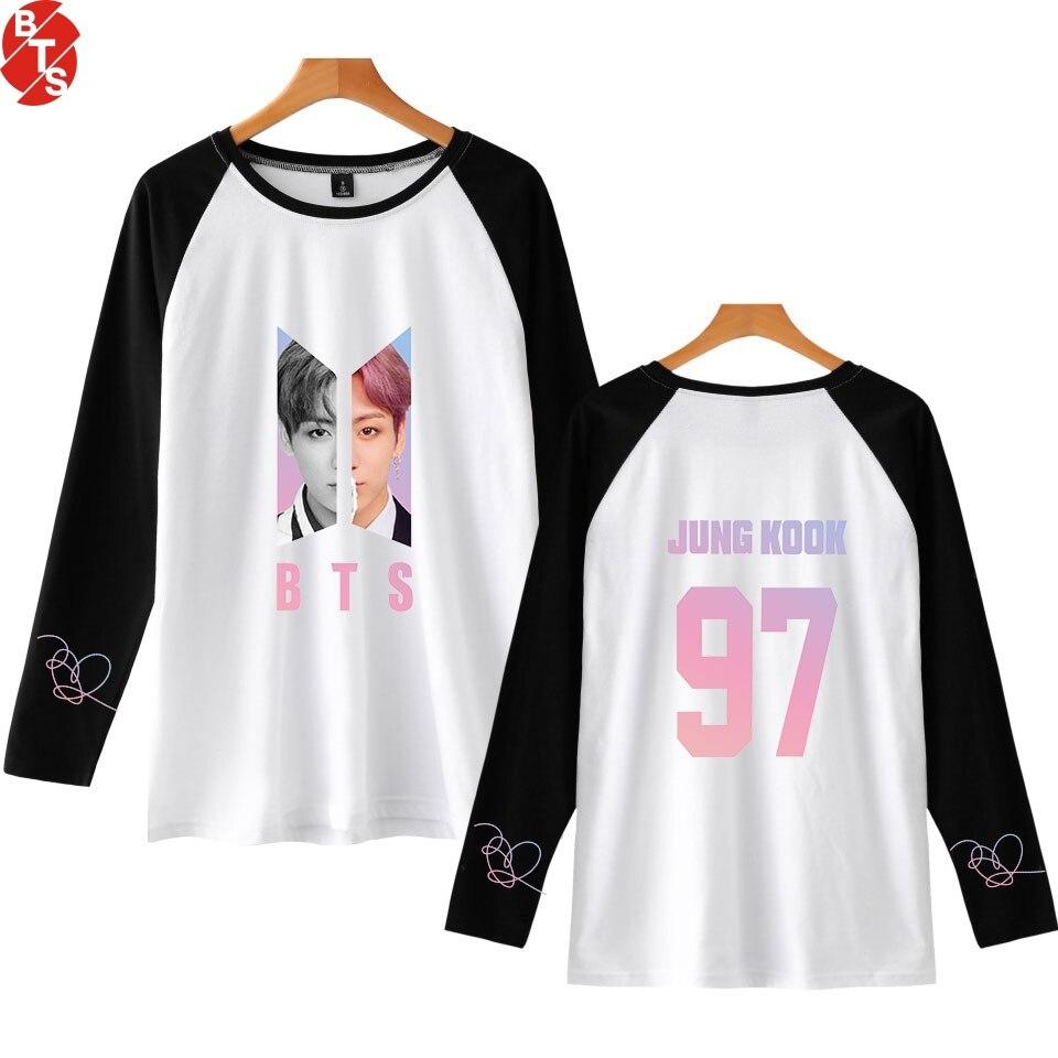 1f5c5f3385c BTS любить себя ответ новых печатных реглан футболки Для женщин Для мужчин  с длинным рукавом Лидер продаж футболки Повседневное уличная Мода..