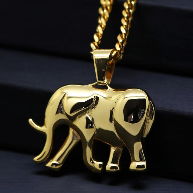 Ouro Grande pingente elefante 70 cm Alta Qualidade de cadeia Longa declaração homens colar banhado a Ouro jóias Da Moda Hiphop do vintage 2017