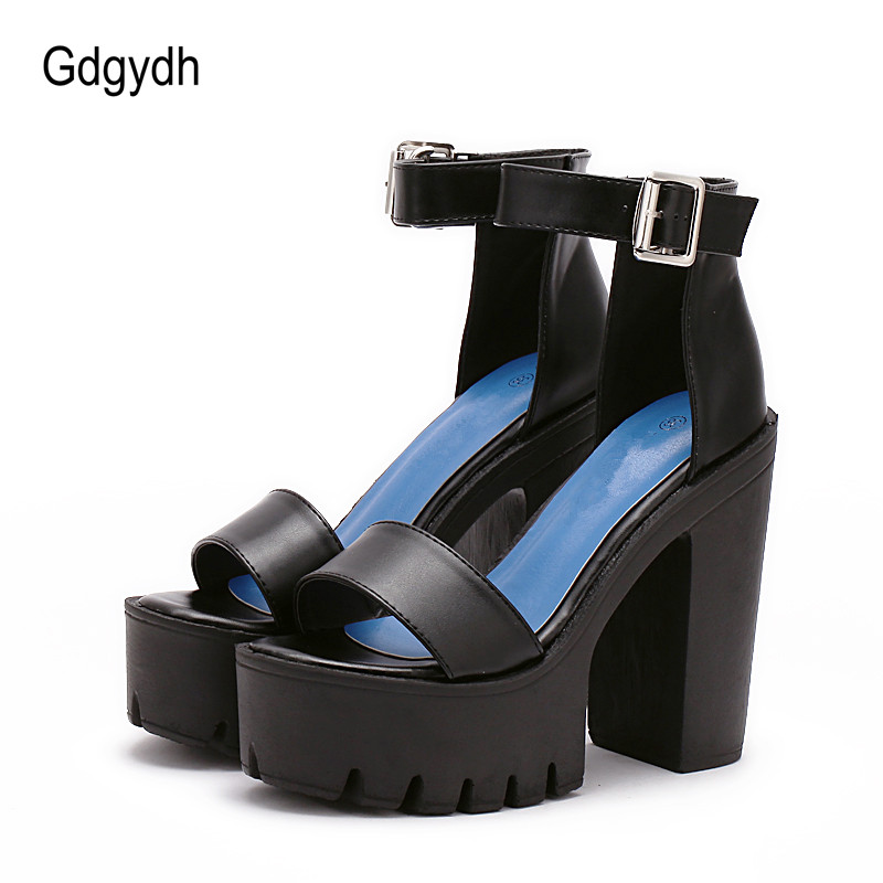 Gdgydh Drop Shipping White Summer Sandal Shoes for Women 2017 New Arrival Thick Heels Sandals Platform