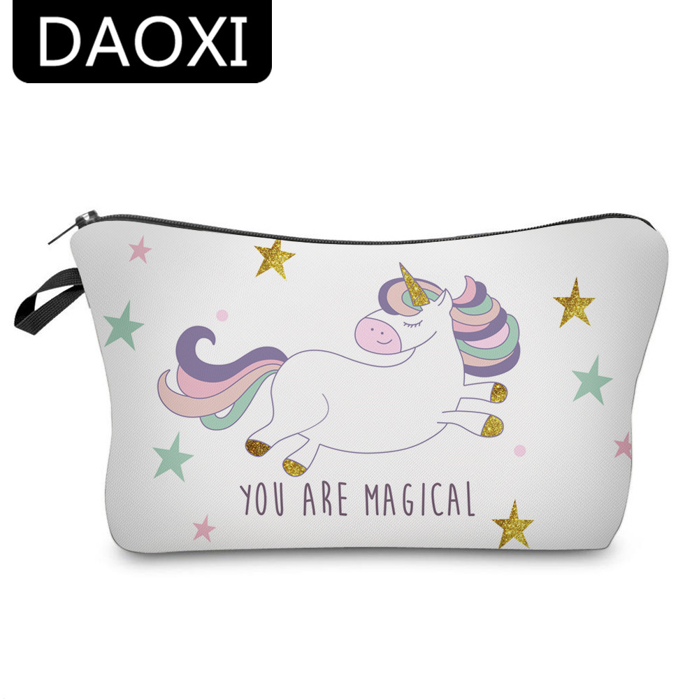 DAOXI Girls Polyester Makeup Bags 3D Printing Unicorn with Star Fashion Orgnizer Necessary