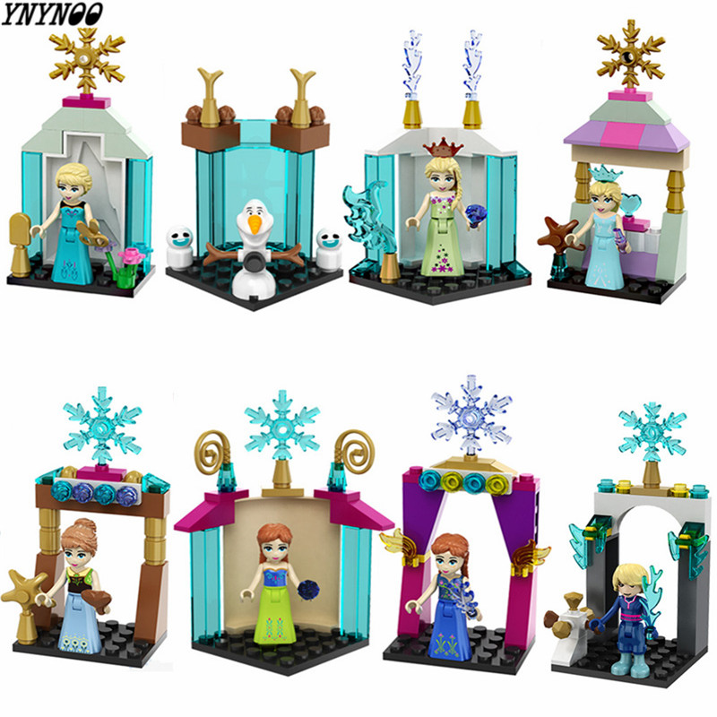 YNYNOO 8pcs Mini Princess  Anna Elsa Olaf Lepine Building Blocks Christmas gifts Toys Compatible LegoINGlys Friends For Girl lepine 16008 cinderella princess castle 4080pcs model building block toy children christmas gift compatible 71040 girl lepine