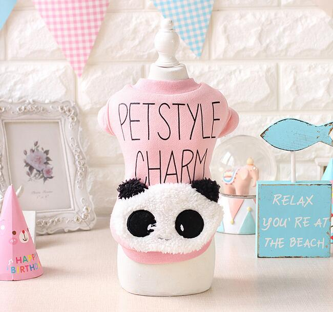 Cute cartoon dogs cats panda hoodies costume doggy autumn winter sweaters clothes puppy vest clothing pet dog cat suit 1pcs