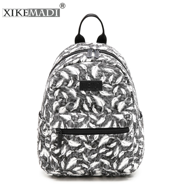 Novelty Feather Waterproof School Teenage Backpack High Quality Canvas Leather Youth Women Backpack Sac A Dos