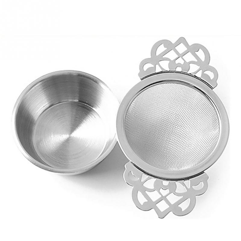 Traditional Stainless Steel Tea Strainer With Drip Bowl Easy Clean Tea Infuser Leaf Double Ear Hanging Herbal Spice Filter #2