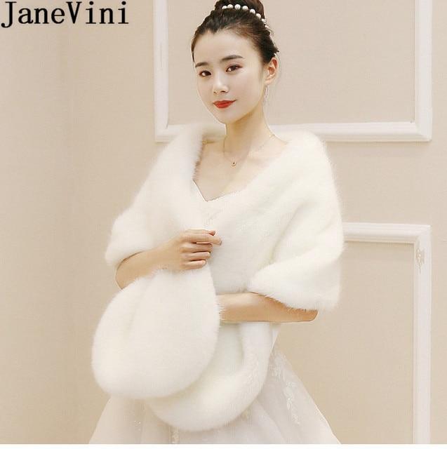9738c3f0433 JaneVini 2019 Winter Black Shrug Women Faux Fur Evening Shawl Wrap Bride Fur  Bridal Wrap Cape Wedding Bolero Fausse Fourrure