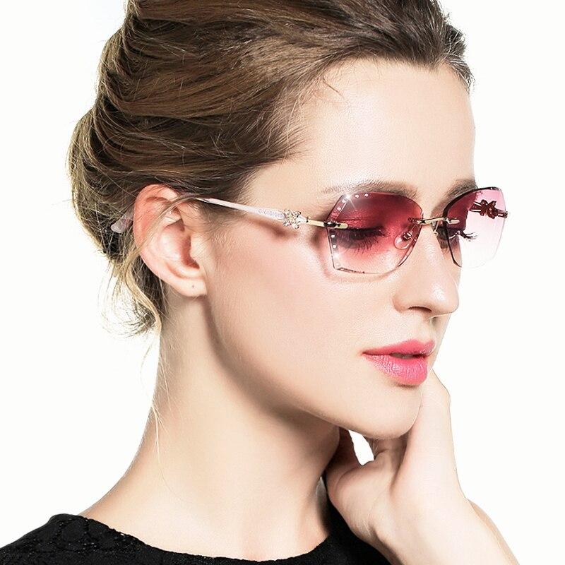 Cubojue titane lunettes de soleil femmes strass lunettes de soleil pour femme dames sans monture diamant coupe dégradé marron violet lentille
