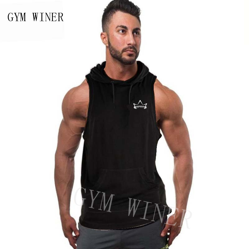 GYM WINER 2019 summer Fashion gyms Hoodie   Tank     Tops   Men sleeveless Slim Sweatshirts Male bodybuilding Solid Casual   Tank     Tops