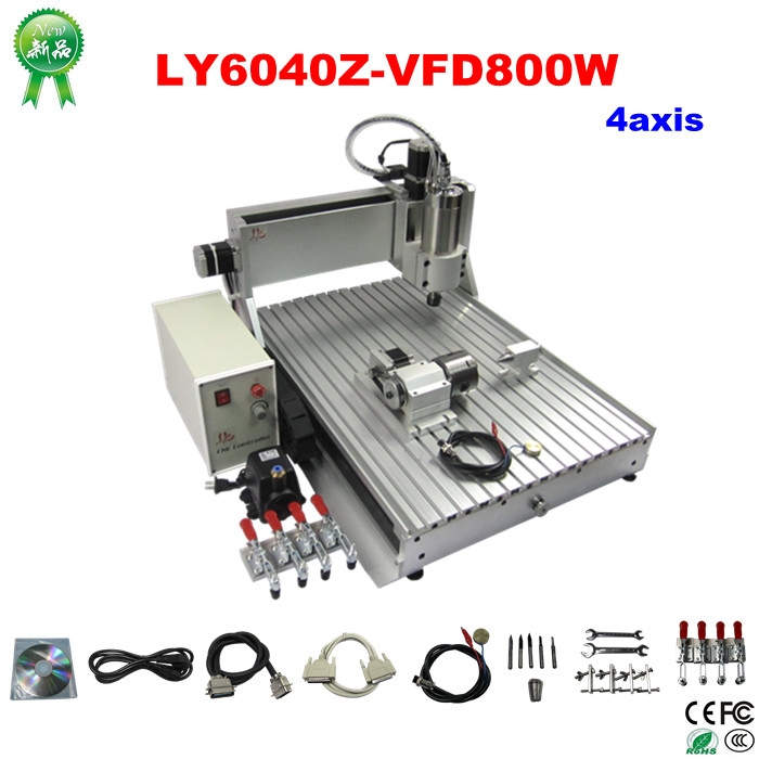 Free shipping  water cooled cnc router 6040z 800w 4axis engraving machine aluminum metal wood milling machine car free shipping new 2pcs cnc router mill z axis tool setting touch plate work engraving mach3 machine for electrical