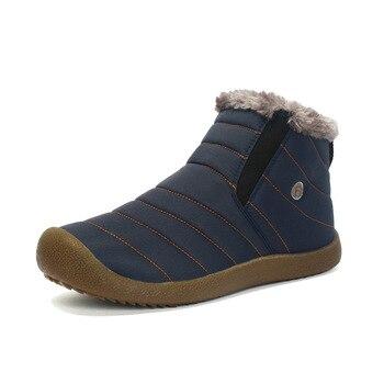 Новая мода Мужская зимняя обувь однотонные зимние сапоги Плюшевые Внутри на нескользящей подошве Удерживающие тепло водонепроницаемые лы...