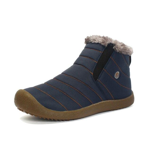 Новая модная мужская зимняя обувь, однотонные зимние ботинки с плюшевой подкладкой, нескользящая подошва, теплые лыжные ботинки, бесплатна...