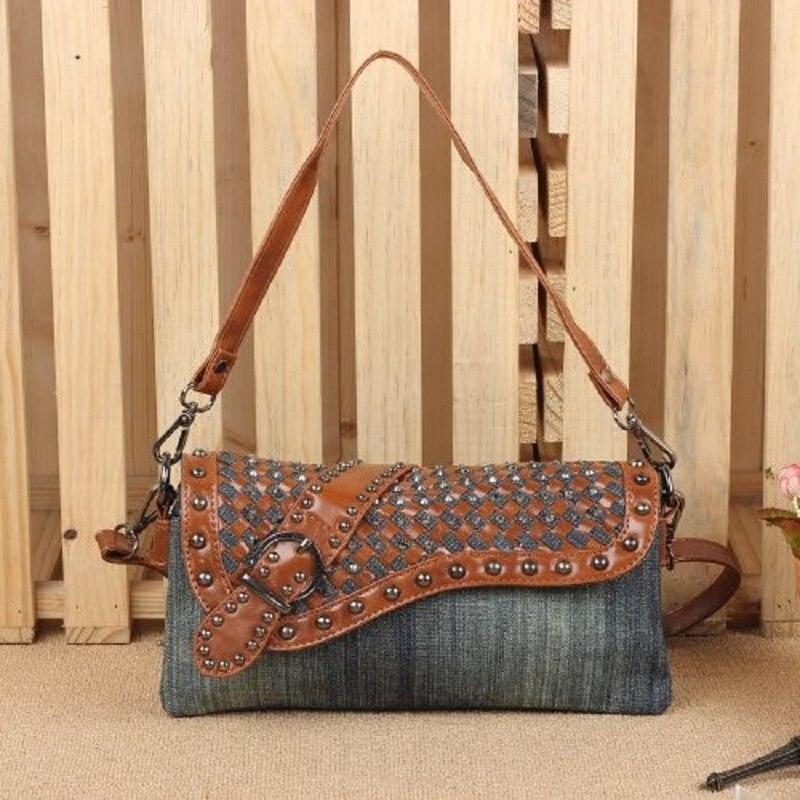 Cheap Women Bags Leather Small Denim Jeans Grey Shoulder purse Crossbody woman Weaving Messenger Handbags Leather Straps Female