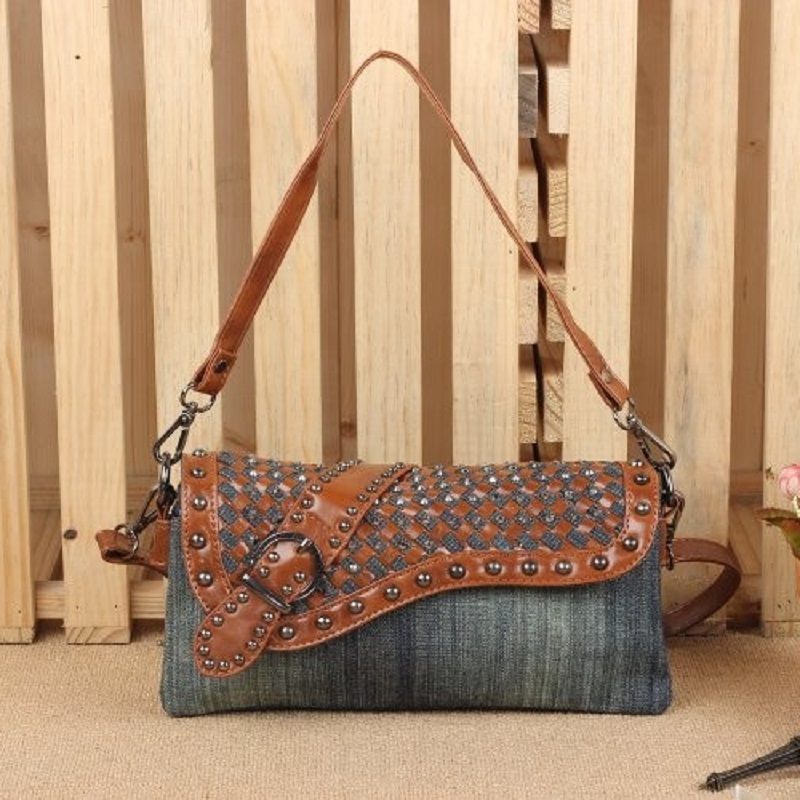 Vintage Fashion Leather Rivet Denim Jeans Shoulder Bags Girls Handbags Crossbody Bag Women Messenger Bags Purse bolsa feminina women shoulder bags leather handbags shell crossbody bag brand design small single messenger bolsa tote sweet fashion style