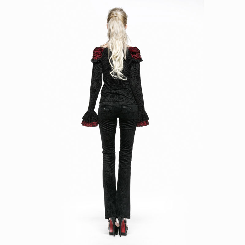 Casual Longue Évasée Noir Femmes Pantalon Promotion Avec Impression Écrou Longs Fleur Gothique Pantalons qO6YU