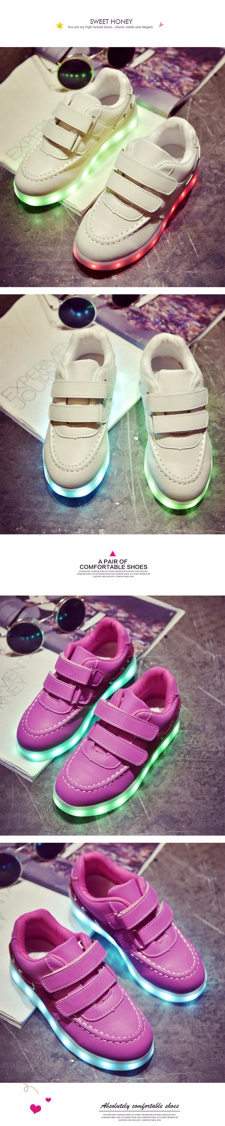 Kid USB Charging LED Light Shoes Soft Net Casual Boy Girl Luminous Sneakers Antiskid Bottom Children Shoes Tenis Led Infantil (8)