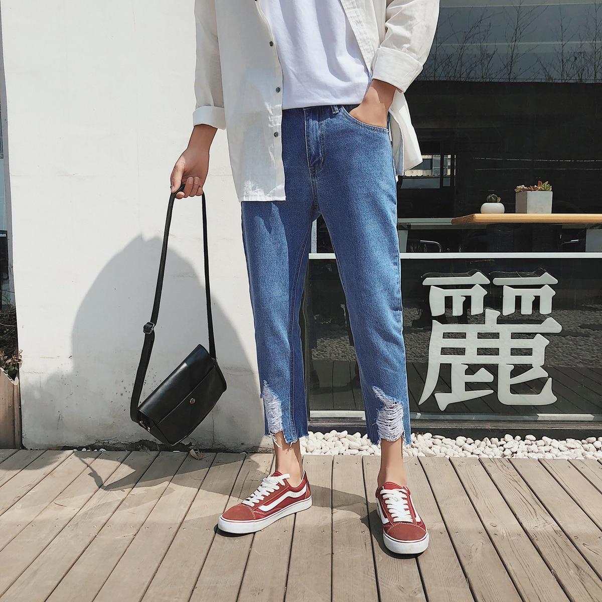 2018 Korean Spring Summer New Men Fashion Tide Do Old Broken Haren Ankle-Length Pants Slim Fit Casual Blue Color Trousers S-2XL