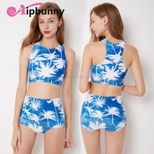High Neck Geometry Leaves Printed Beach Bath Suit Lady Waist Biquini Sexy  Womens Swimwear Bikini Girl