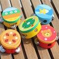 Niños educativos de madera de dibujos animados tambor de mano del bebé handbell toys musical pandereta batir instrumento