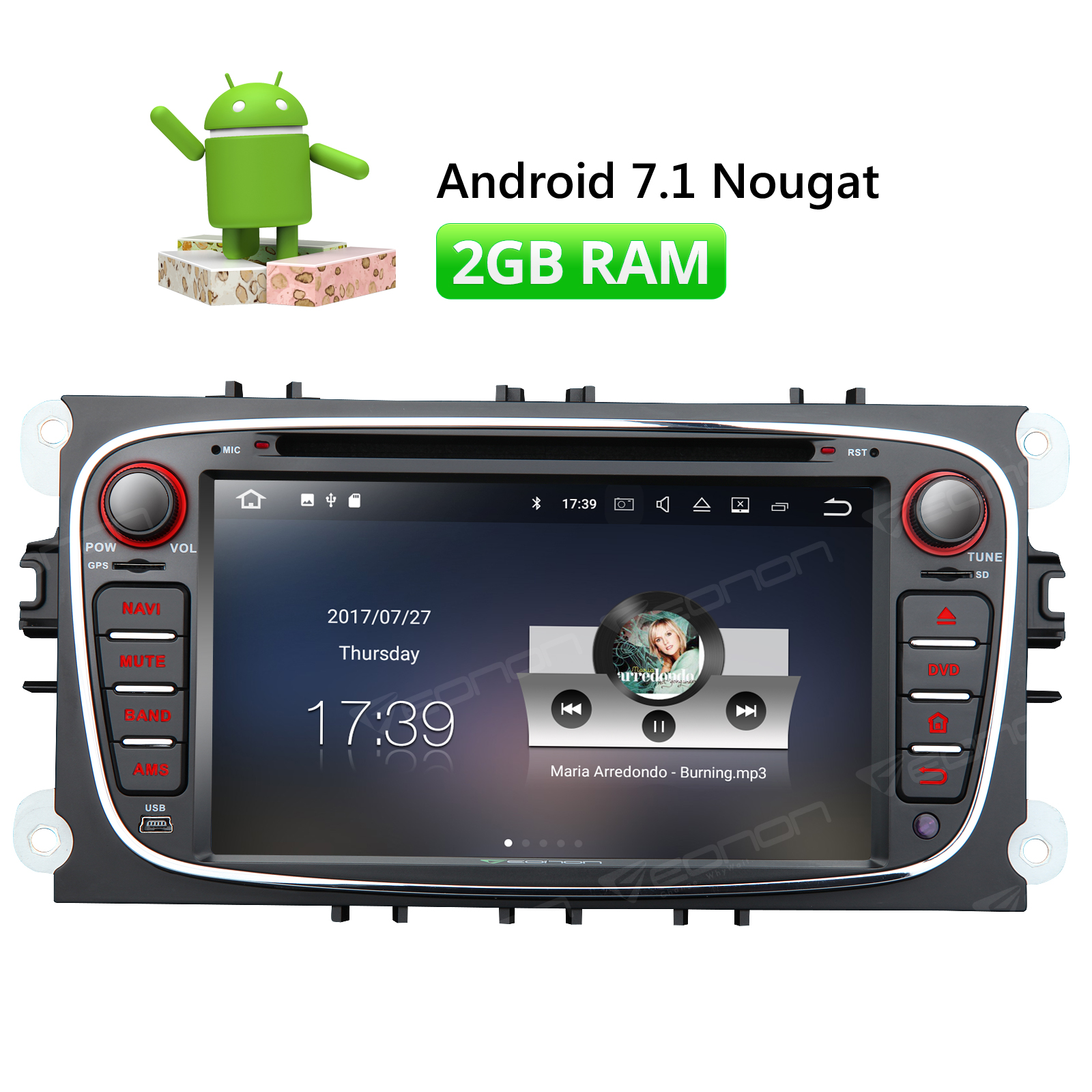 Eonon GA8162 7 Android 7.1 Car Stereo DVD GPS Tracker For Ford Mondeo Focus S-Max Touch Screen 1024*600 WiFi DAB+ SAT