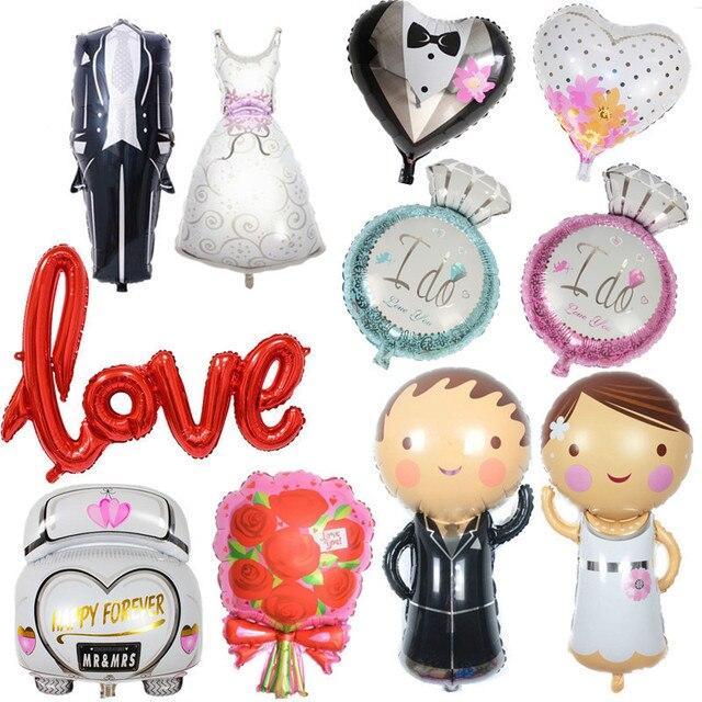 Decoraciones de boda novio novia amor globos equipo novia para ser despedida de soltera Mr Mrs Ballon despedida de soltera decoración Diy
