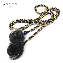 Hot fashion fur ball braided female belt rope thin chain waist belts for women clothing font