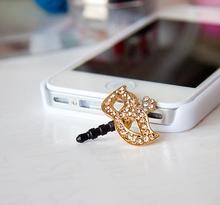 Rhinestone Mask Headphones Dust Plug Cell Phone