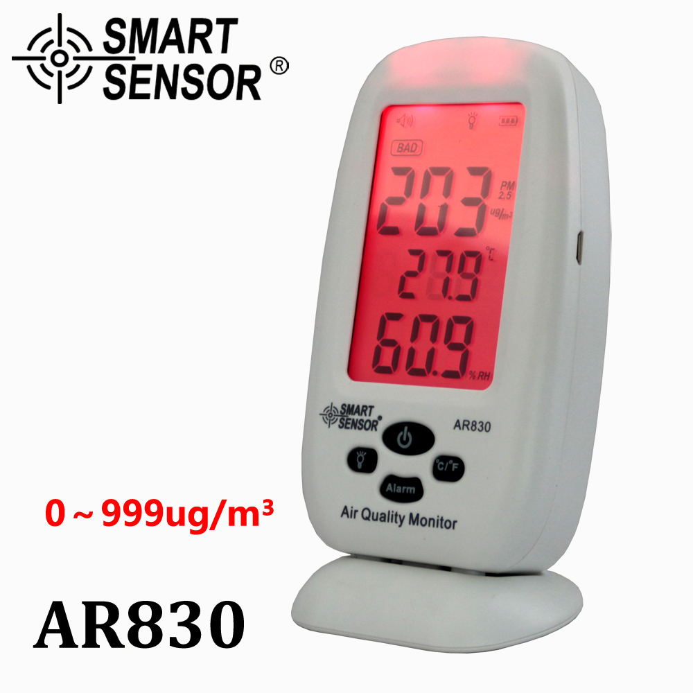 Digital Air Quality Monitor PM2.5 Detector Smart Sensor AR830 Temperature Humidity W/Carry CAS Thermometer Hygrometer AC100-240V indoor air quality monitor formaldehyde hcho benzene humidity temperature tvoc meter detecter 5 in 1