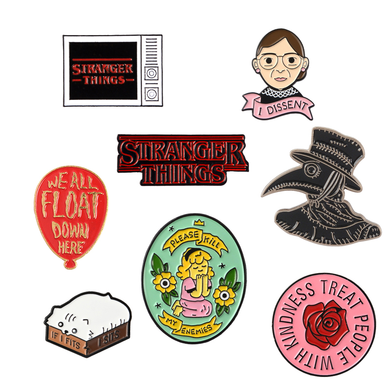 Brooch Collection Harry Styles Ginsburg Plague Doctor Girl Stranger Things Cat In The Box Brooches Enamel Pins Badges Pin