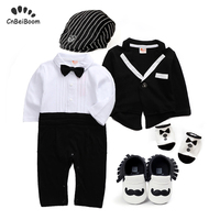 Baby Tuxedo formal romper sets boys wedding suit 1 2 first birthday party clothes newborn rompers + coat + shoes+socks +hat 5pcs