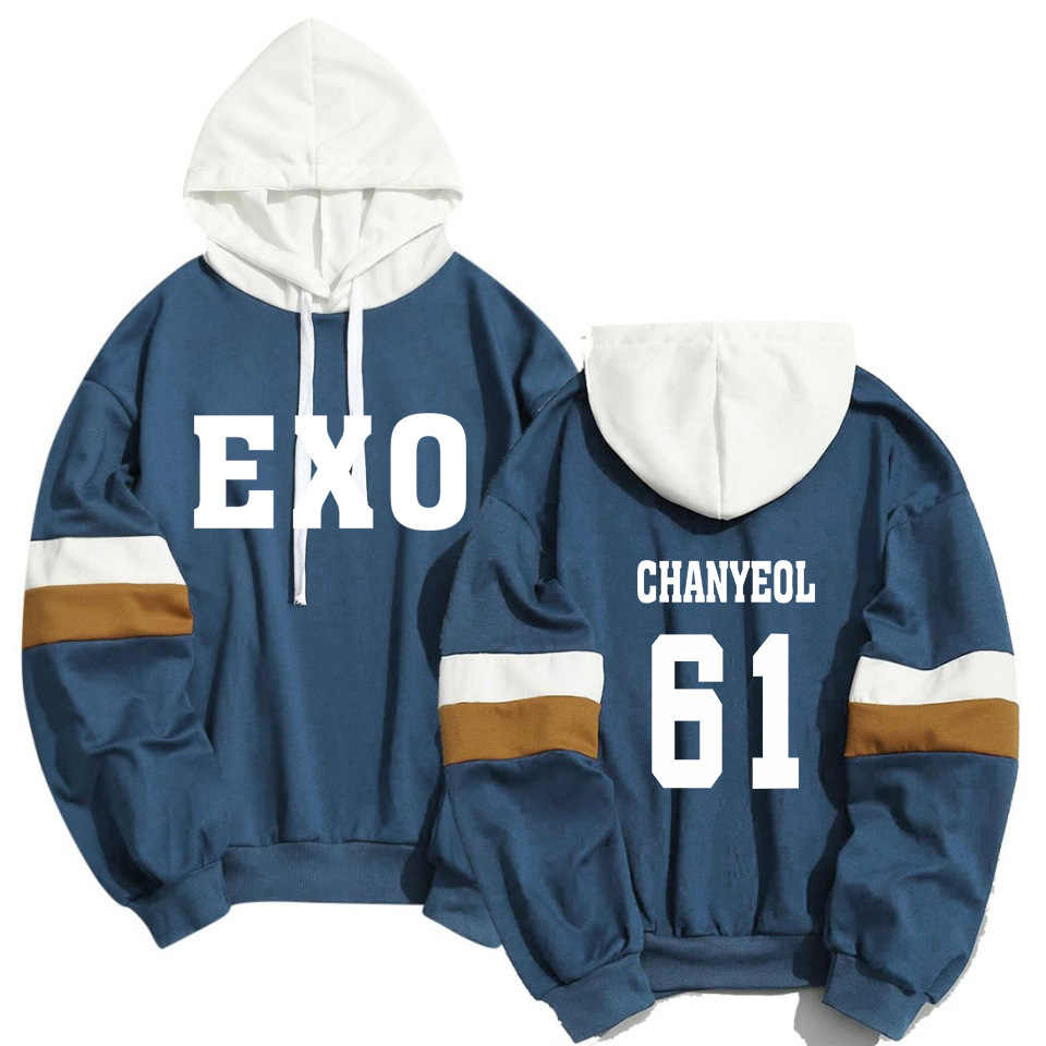 Kpop EXO Member Name Print Sweatshirt Men Women Streetwear Patchwork Hoodies K-pop XIUMIN LUHAN CHANYEOL Pullover Clothes