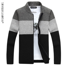 TIMESUNION Brand Clothing Thicken Winter Sweater Men Pattern Striped Zipper Warm Outwear Jacket Wool Liner Cardigan Men