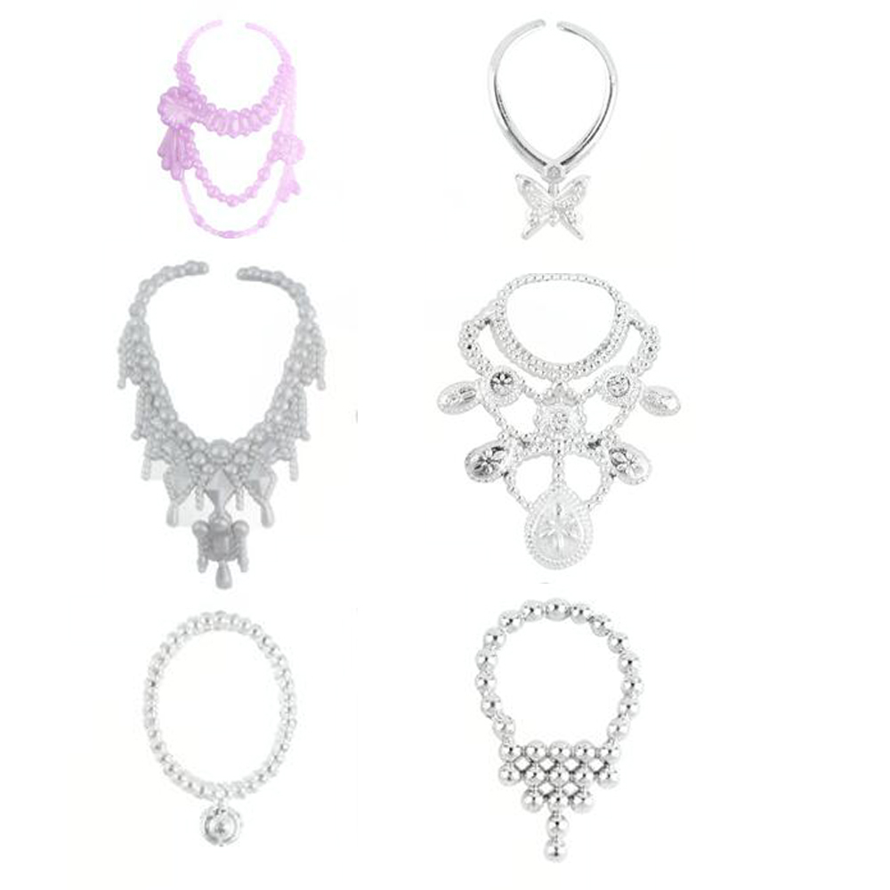 NK-28-ItemsLot10-Pcs-Mix-Sorts-Beautiful-Party-Clothes-Fashion-Dress-6-Pcs-Plastic-Necklace-12-Pair-Shoes-For-Barbie-Doll-4